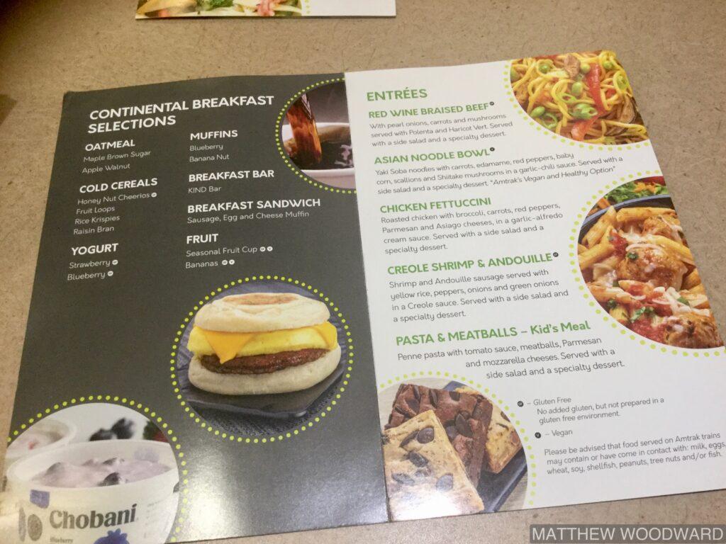 Amtrak menu
